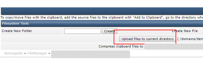 Uploading files in File Manager