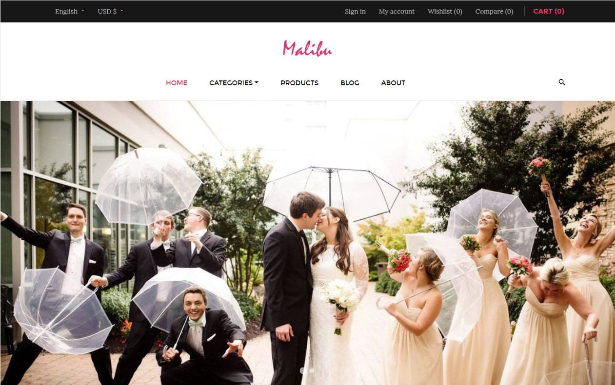 leo malibu free prestashop themes 1.7.5 for weddings