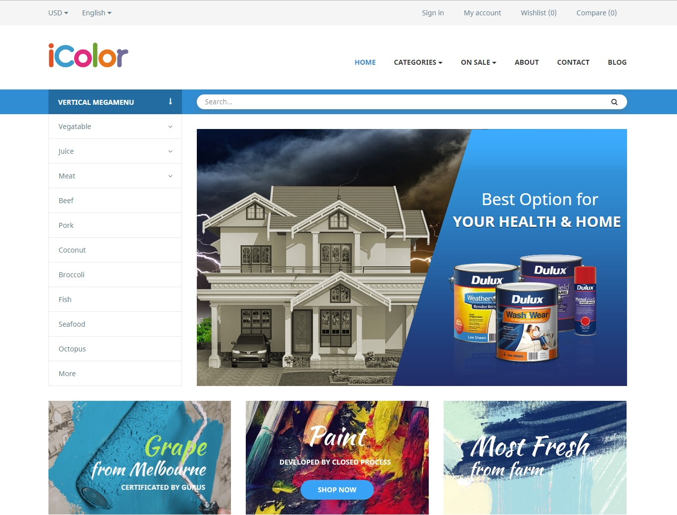 leo icolor paint supply prestashop business theme