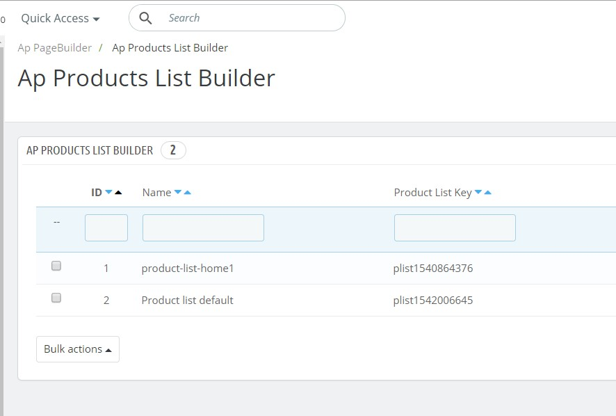 manage ap product list builder